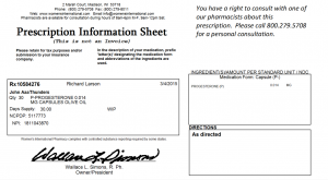 Prescription information sheet sample