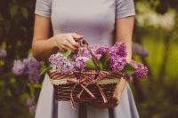 woman holding flower basket